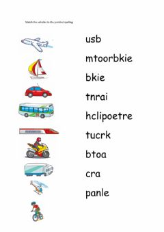 Interactive worksheet Transport unjumble