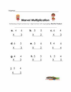 Interactive worksheet Multiplication with Regrouping