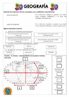 Interactive worksheet Paralelos y Meridianos