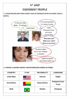 Interactive worksheet 4º ano - Different people