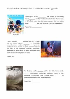 Interactive worksheet Relative Clauses and films
