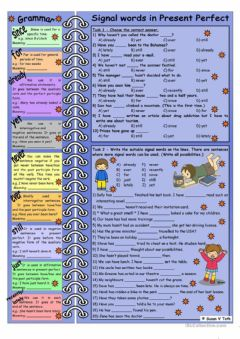 Interactive worksheet Present Perfect signal words