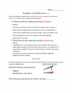 Interactive worksheet Personal Physical Strengths and Weaknesses