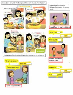 Interactive worksheet What-s for lunch