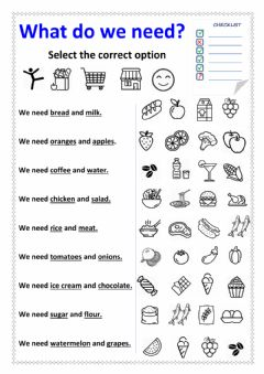Interactive worksheet What do we need?