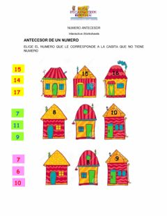 Interactive worksheet Numero antecesor