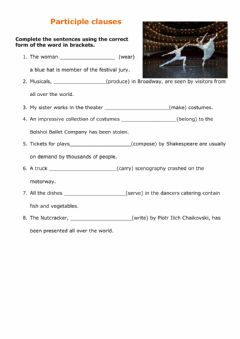 Interactive worksheet Participle clauses
