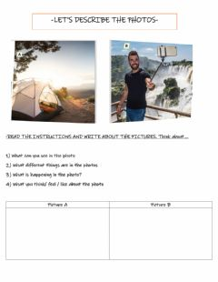 Interactive worksheet Describing a photo