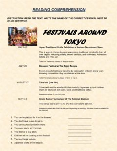 Interactive worksheet READING COMPREHENSION. Festivals around Tokyo.