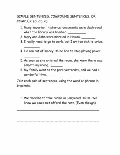Interactive worksheet Compound, complex and simple sentences