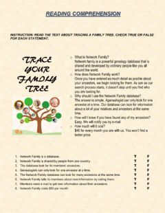 Interactive worksheet READING COMPREHENSION. Trace Your Family Tree.