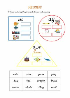 Interactive worksheet Phonics: ai - ay - a-e
