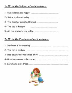 Interactive worksheet Simple subject and predicate