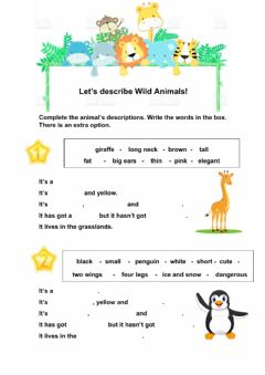 Ficha interactiva Let's describe animals