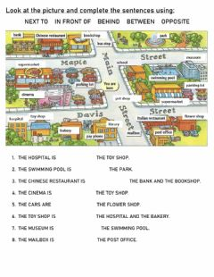Interactive worksheet THE CITY - prepositions of place