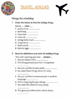 Interactive worksheet Travel abroad
