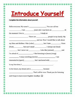 Ficha interactiva Introduce yourself