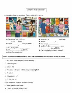 Interactive worksheet Asking for prices
