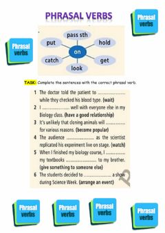Ficha interactiva Phrasal verbs with -ON-