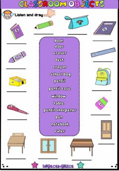 Interactive worksheet Classroom Objects(Listen and drag)