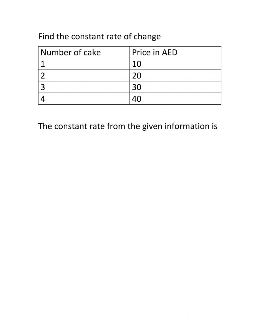 Constant change worksheet Pertaining To Constant Rate Of Change Worksheet