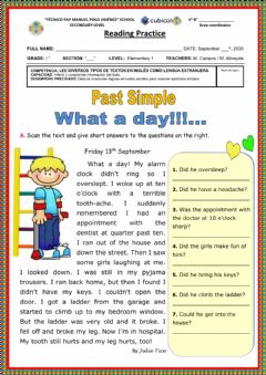 Interactive worksheet What a day!!!