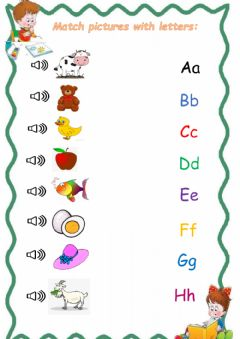 Interactive worksheet letters A-H