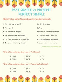 Ficha interactiva Past Simple vs Present Perfect Simple