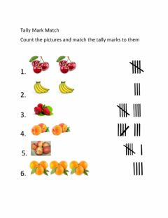 Interactive worksheet Matching Tally Marks