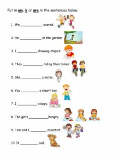 Interactive worksheet The Verb to be ( is, am and are)