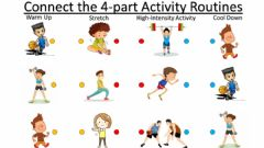 Interactive worksheet PE Warm Ups Stretches Cool Downs