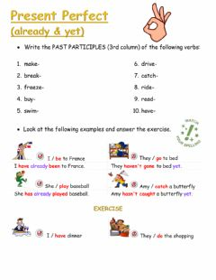 Ficha interactiva Present Perfect with already and yet