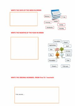 Interactive worksheet Days of the week, months and ordinal numbers
