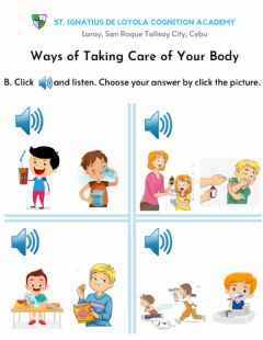 Interactive worksheet Ways of Taking Care of Your Body