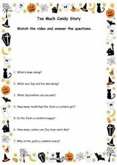 Interactive worksheet Halloween - Too Much Candy Story