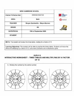 Interactive worksheet Worksheet- times tables and factor of 10