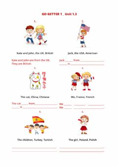 Interactive worksheet Go Getter 1-Unit 1.3-to be and nationalities