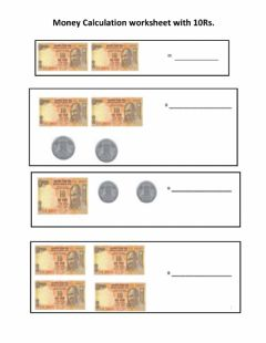 Interactive worksheet Money calculating 10 Rs notes and 1 re.coins