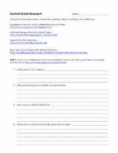 Interactive worksheet Survival Guide For Brian Research