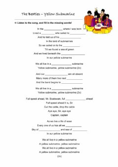 Interactive worksheet The Beatles and yellow submarine