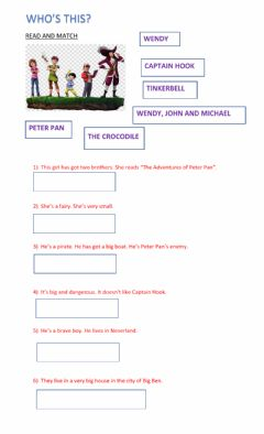 Interactive worksheet Peter Pan