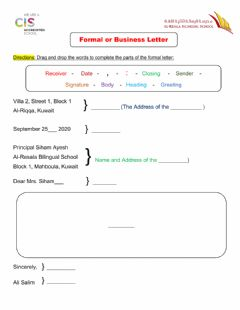 Interactive worksheet Parts of Formal Letter