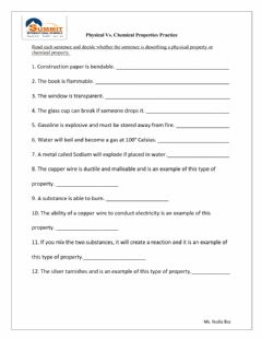 Interactive worksheet Physical & Chemical  Properties