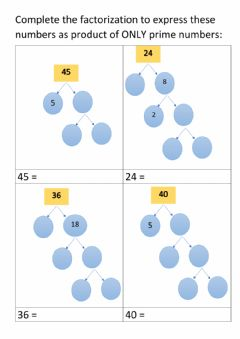 Interactive worksheet Prime Factorization