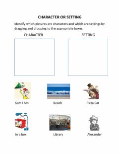 Interactive worksheet Character or Setting