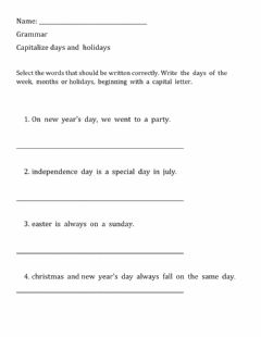 Interactive worksheet Proper Noun - Days of the Week, Months of the Year, Holidays