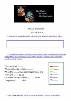 Interactive worksheet We are the world - USA FOR AFRICA