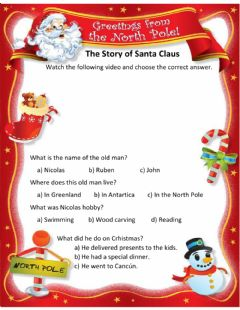 Interactive worksheet The Story of Santa Claus
