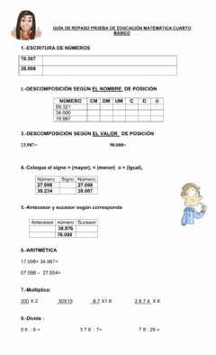 Interactive worksheet Guía repaso 4to