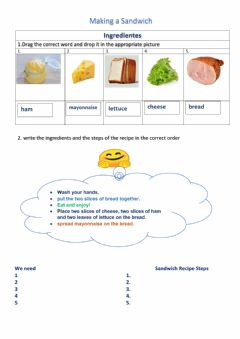 Interactive worksheet Sandwich Recipe